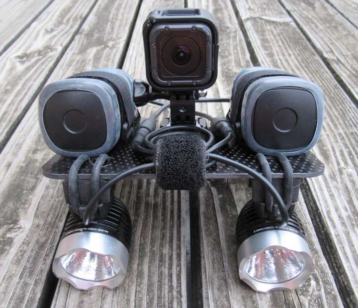 GoPro Hero5 Session on top of my fat-bike light mount.