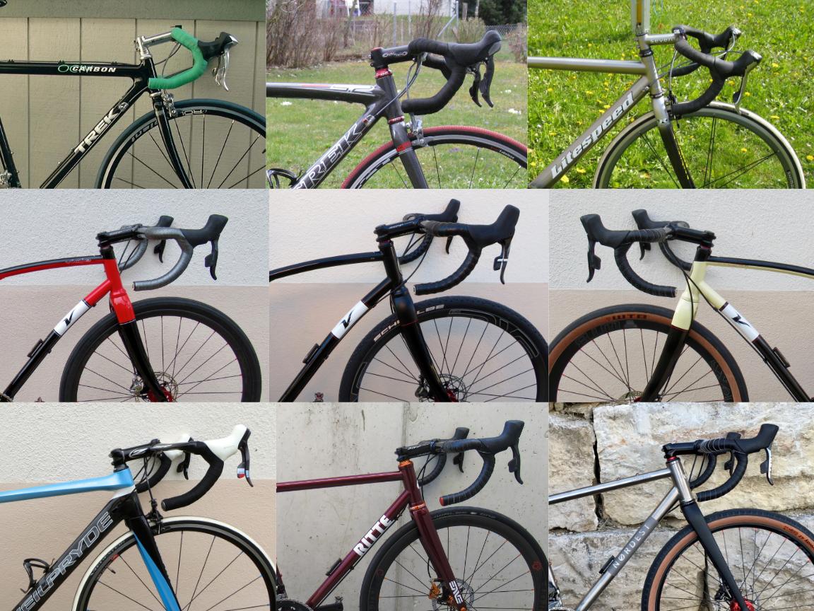 The evolution of my handlebar setups over the years.