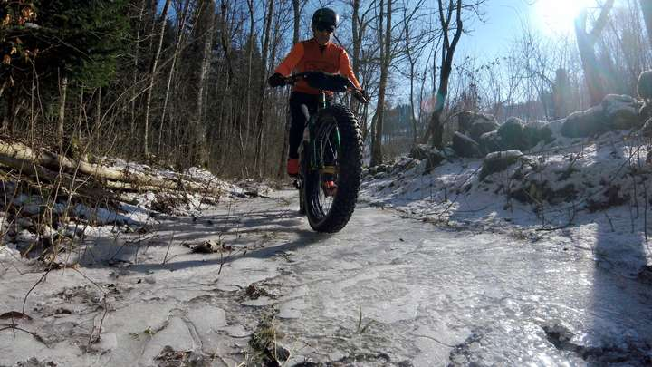 A completely frozen over trail.