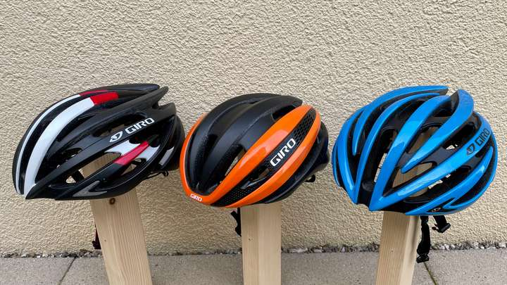 My road cycling helmets. Giro Aeon, Synthe and Aeon.