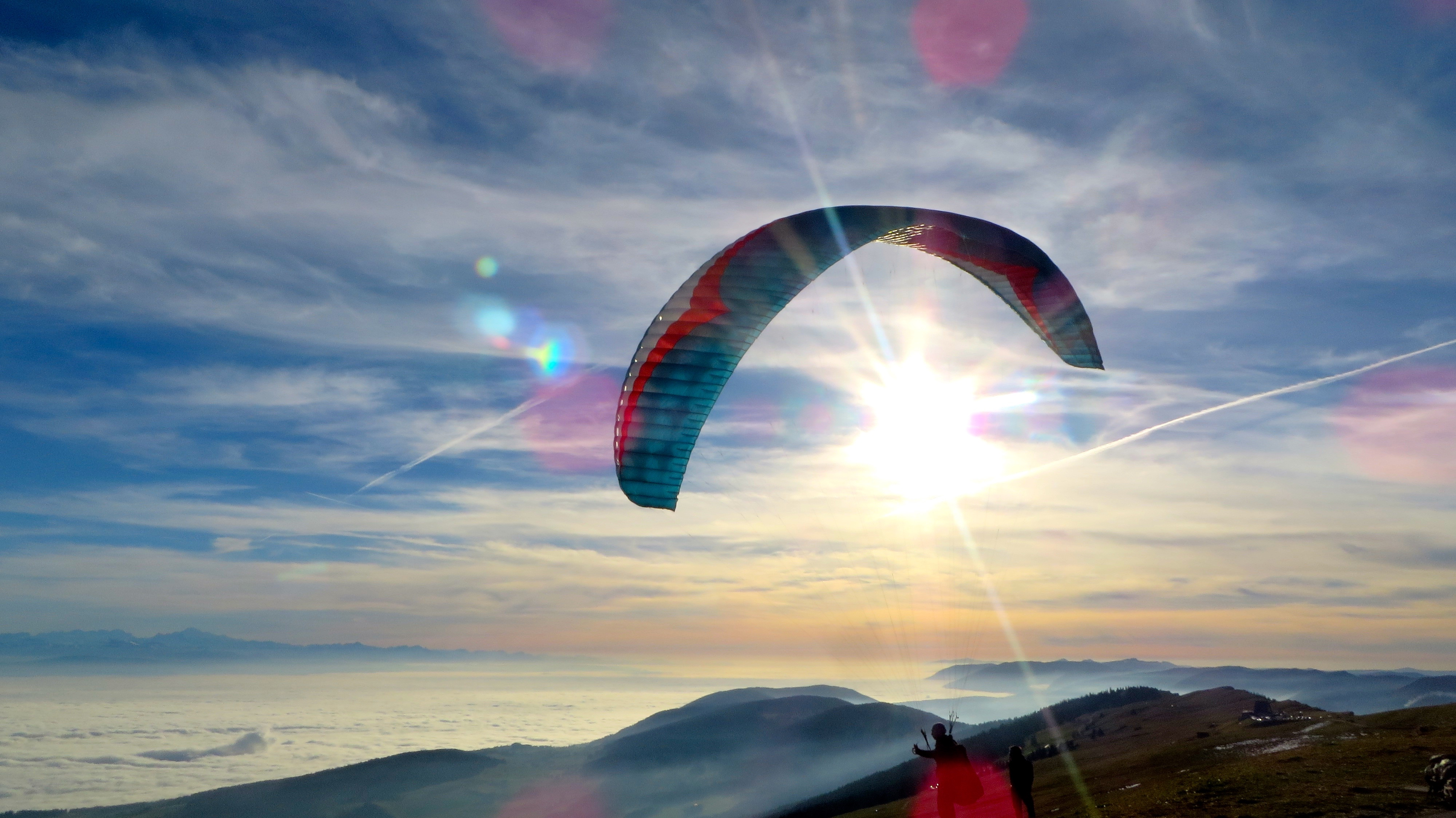 Paraglider at the Chasseral on November 22, 2014.
